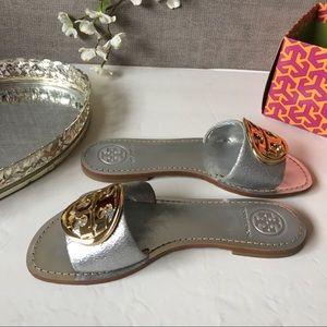 Tory Burch Logo Metallic Silver Leather Sandals